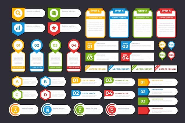 Platte ontwerp infographic elementen collectie Premium Vector