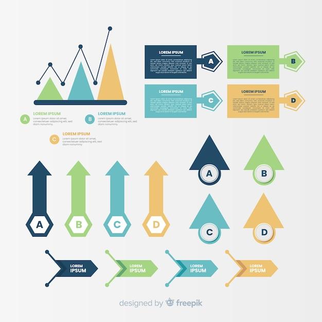 Platte ontwerp infographic elementen pack Gratis Vector
