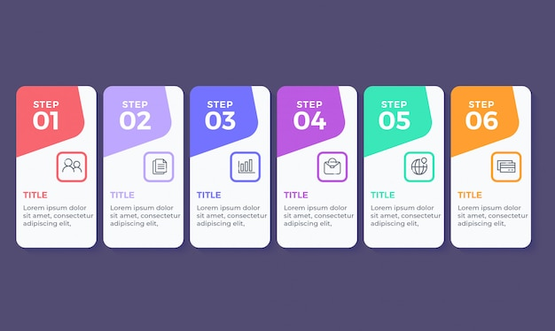 Platte ontwerp infographic met 6 opties stappen Premium Vector