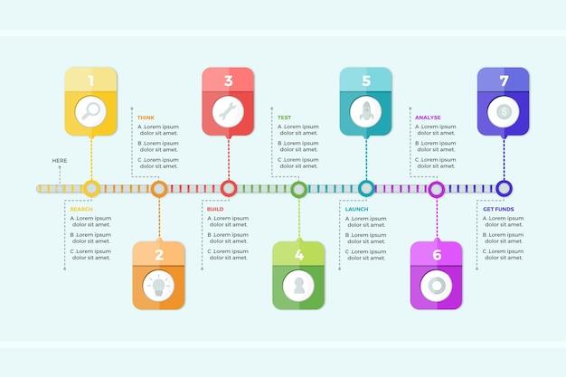 Platte ontwerp infographic stappen Gratis Vector