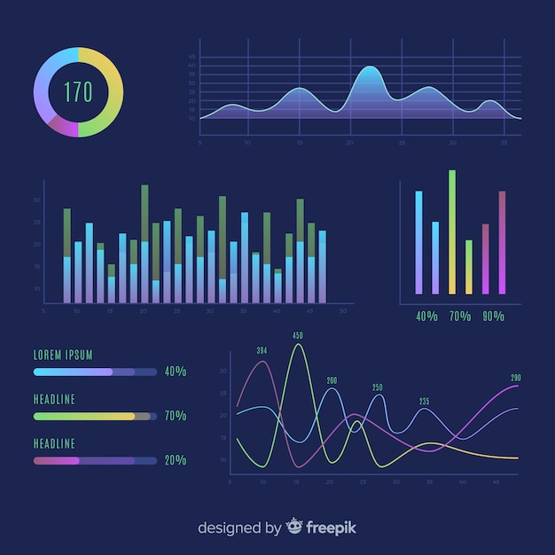 Platte ontwerp infographic verzameling van grafieken Gratis Vector