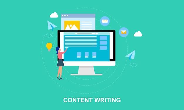 Platte ontwerp inhoud schrijven, bloggen illustratie Premium Vector