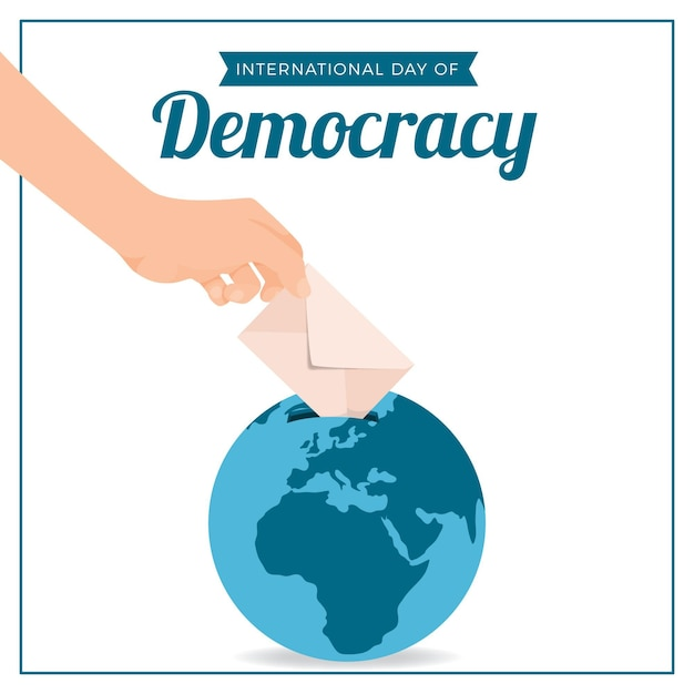 Platte ontwerp internationale dag van de democratie met hand en earth globe Gratis Vector