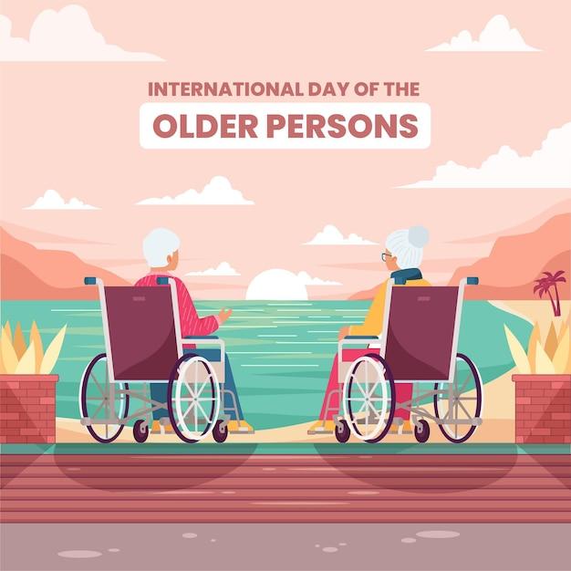 Platte ontwerp internationale dag van de ouderen Gratis Vector