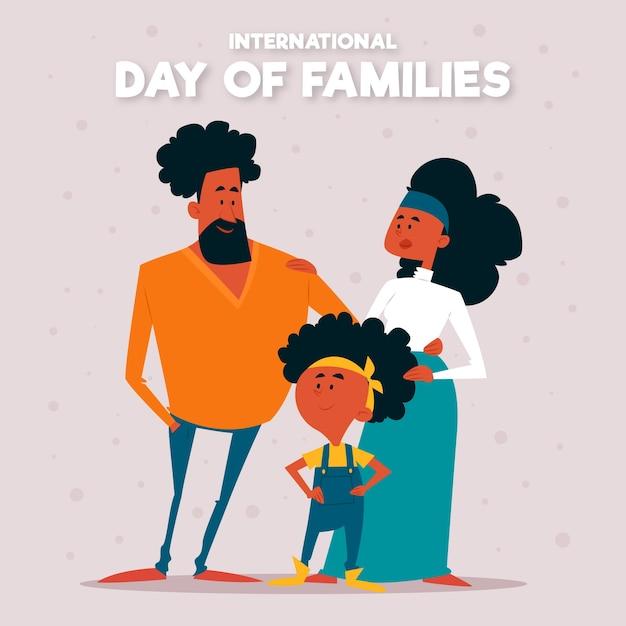 Platte ontwerp internationale dag van families ontwerpen Gratis Vector
