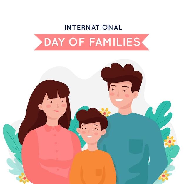 Platte ontwerp internationale dag van gezinnen Gratis Vector