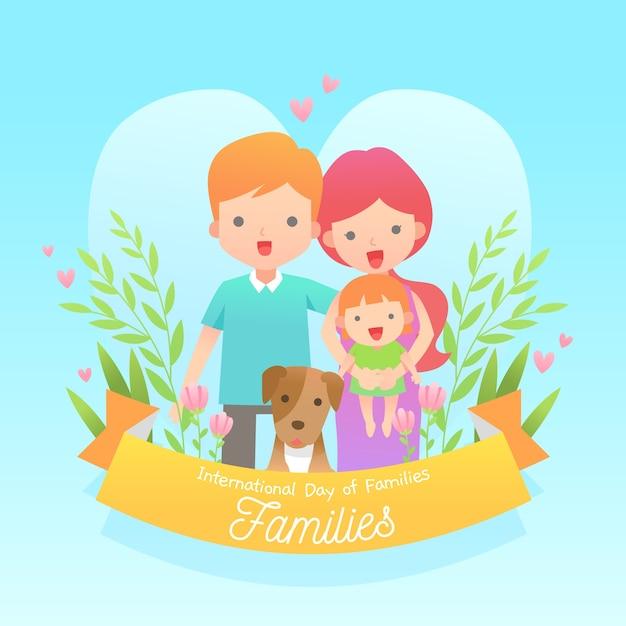Platte ontwerp internationale dag van het familie-evenement Gratis Vector