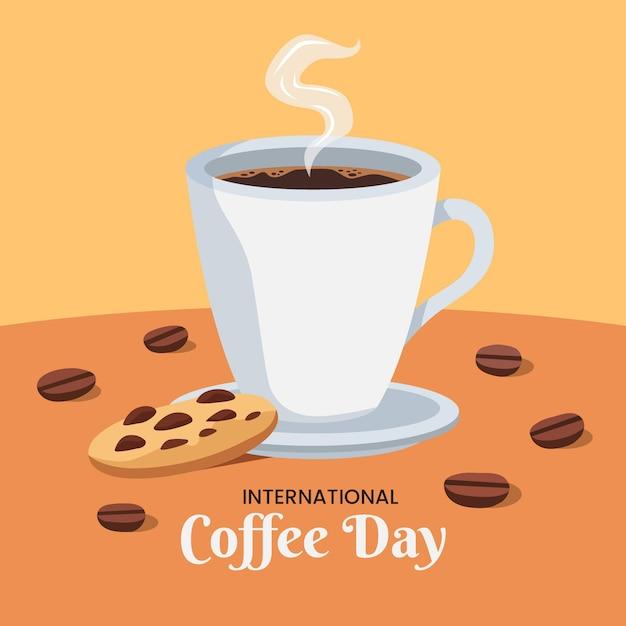 Platte ontwerp internationale dag van koffie en koekje Gratis Vector