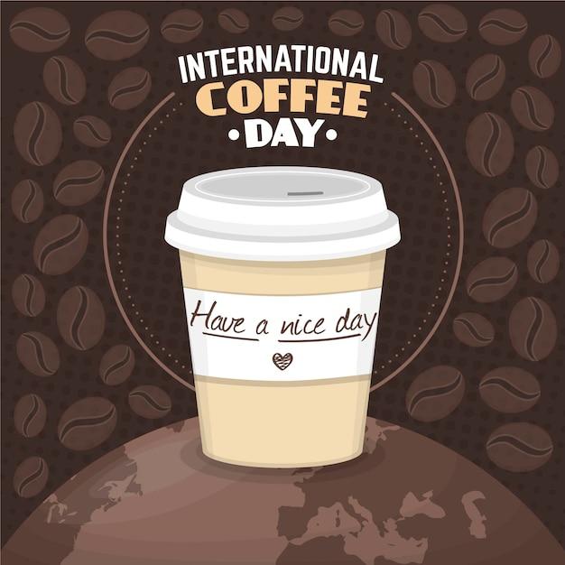 Platte ontwerp internationale dag van koffie Gratis Vector
