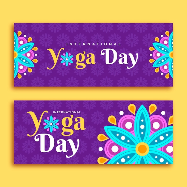 Platte ontwerp internationale dag van yoga banner Gratis Vector