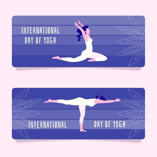 Platte ontwerp internationale dag van yoga banner Gratis Vector