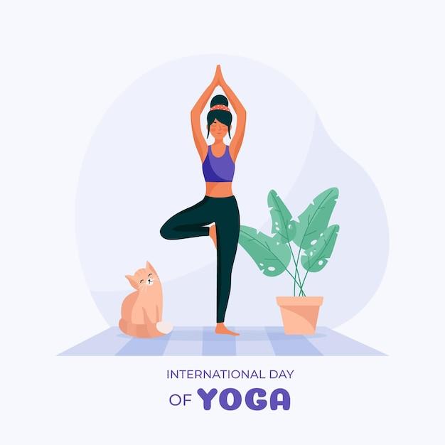 Platte ontwerp internationale dag van yoga illustratie Gratis Vector