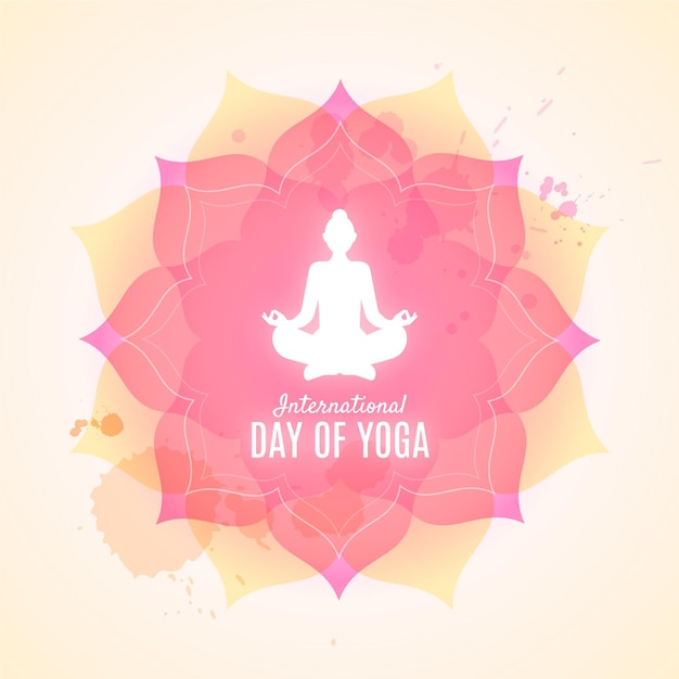 Platte ontwerp internationale dag van yoga Gratis Vector