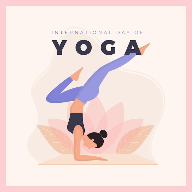 Platte ontwerp internationale dag van yoga Premium Vector