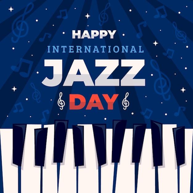 Platte ontwerp internationale jazzdag concept Gratis Vector