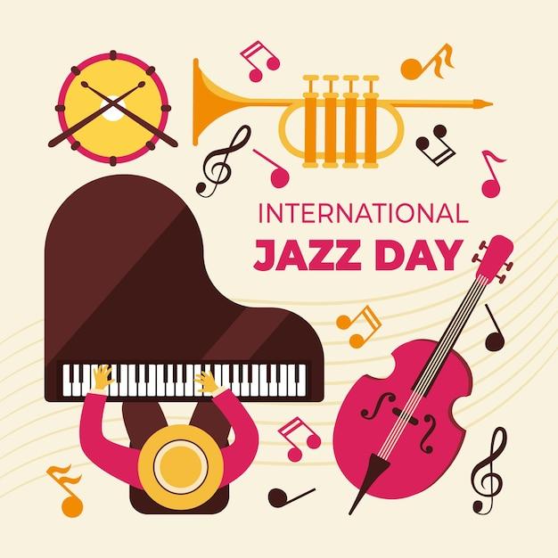 Platte ontwerp internationale jazzdag Gratis Vector
