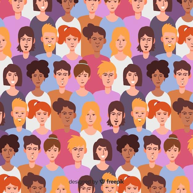 Platte ontwerp jeugd mensen patroon Gratis Vector