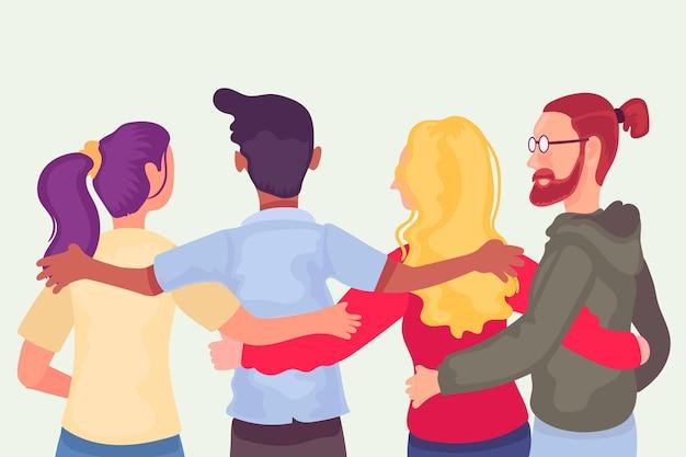 Platte ontwerp jeugddag met mensen die samen knuffelen Gratis Vector