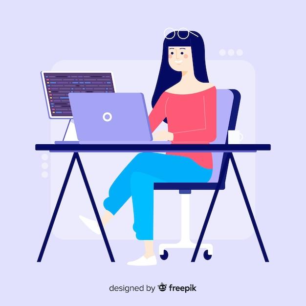 Platte ontwerp jonge meisje programmeur werken Gratis Vector