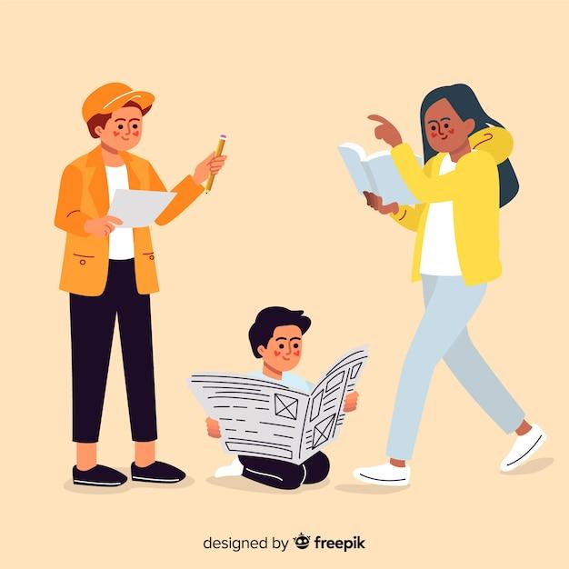 Platte ontwerp jonge personages lezen in groep Gratis Vector