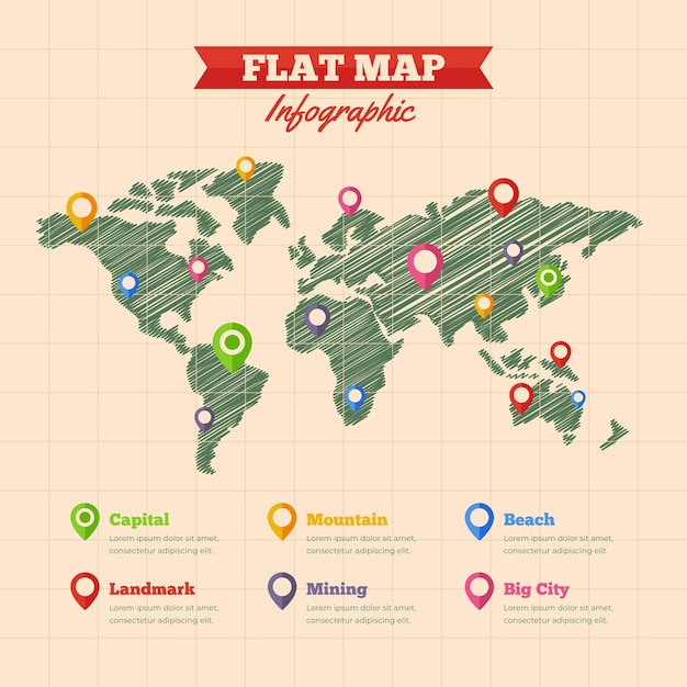 Platte ontwerp kaarten infographic Gratis Vector
