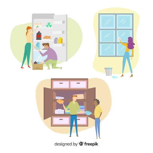 Platte ontwerp karakters huishoudelijk werk Gratis Vector