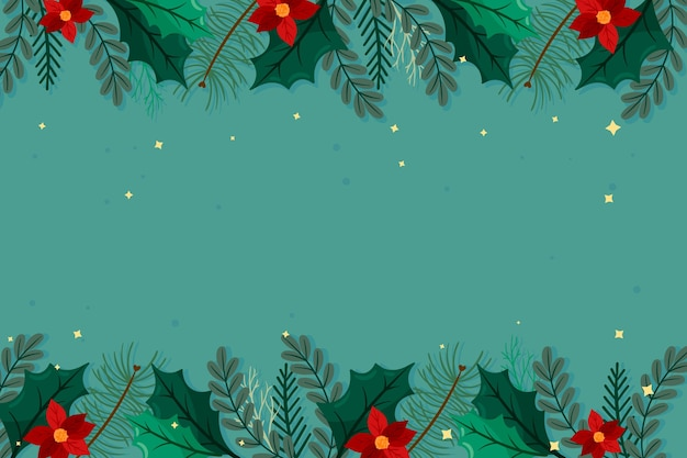 Platte ontwerp kerst achtergrond Gratis Vector