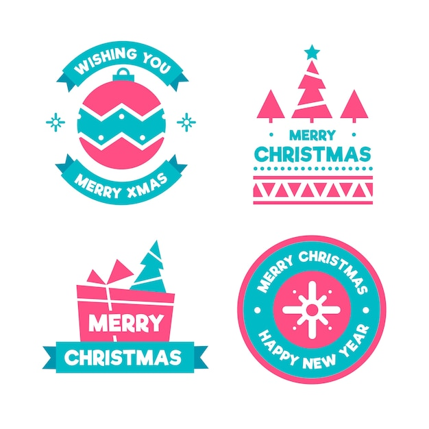 Platte ontwerp kerst badge set Gratis Vector