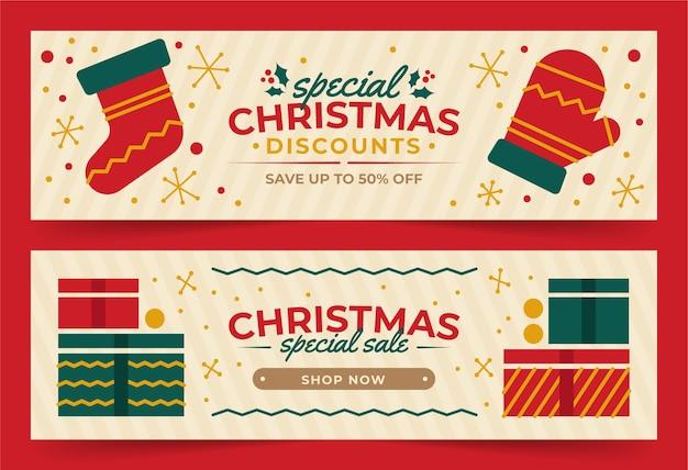 Platte ontwerp kerst banners sjabloon Gratis Vector