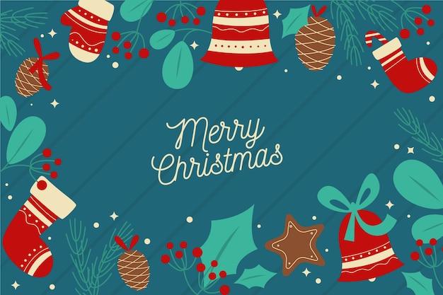 Platte ontwerp kerst behang Gratis Vector