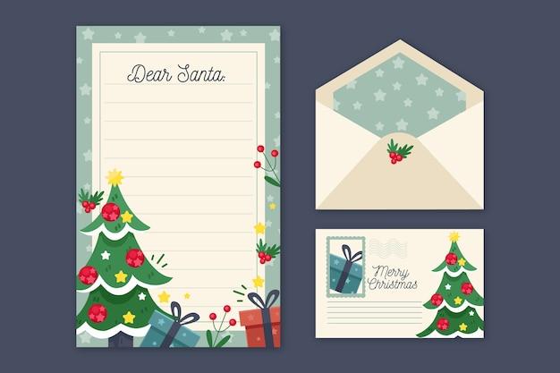 Platte ontwerp kerst briefpapier sjabloon Gratis Vector