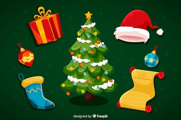 Platte ontwerp kerst element collectie Gratis Vector
