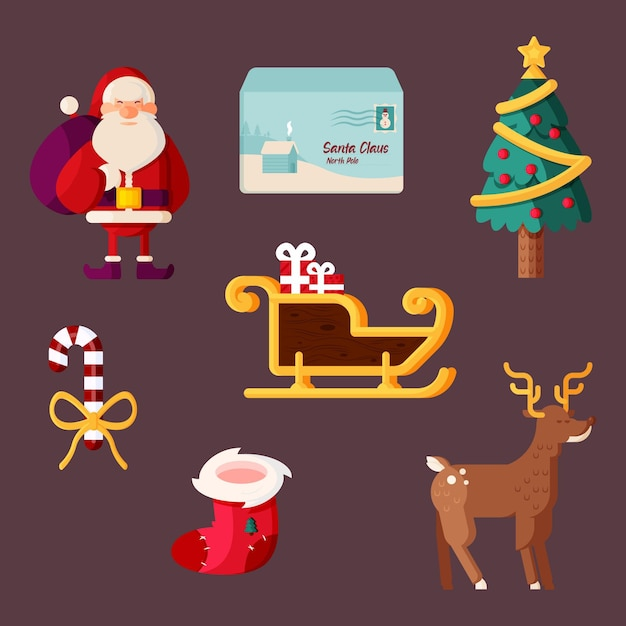 Platte ontwerp kerst element illustraties pack Gratis Vector