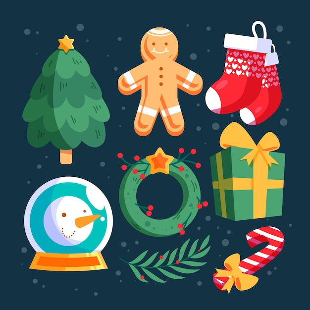 Platte ontwerp kerst elementen collectie Gratis Vector