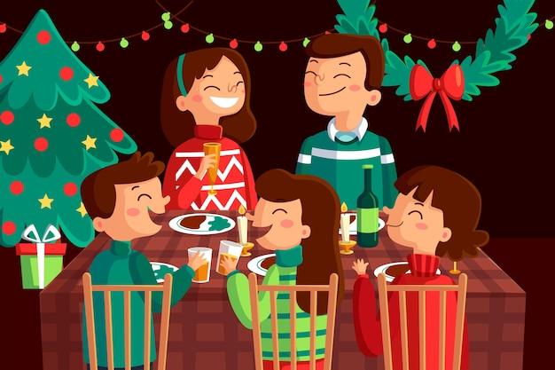 Platte ontwerp kerst familie scène Gratis Vector