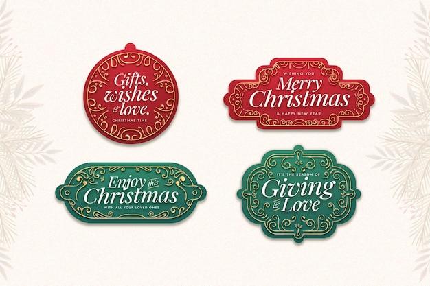 Platte ontwerp kerst label collectie Gratis Vector