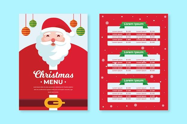 Platte ontwerp kerst menusjabloon Gratis Vector