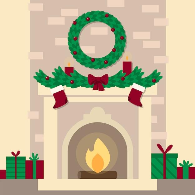 Platte ontwerp kerst open haard scène Gratis Vector