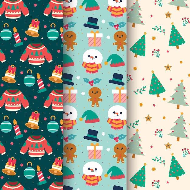 Platte ontwerp kerst patroon collectie Gratis Vector