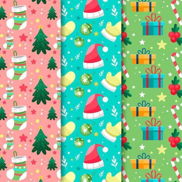Platte ontwerp kerst patroon pack Premium Vector
