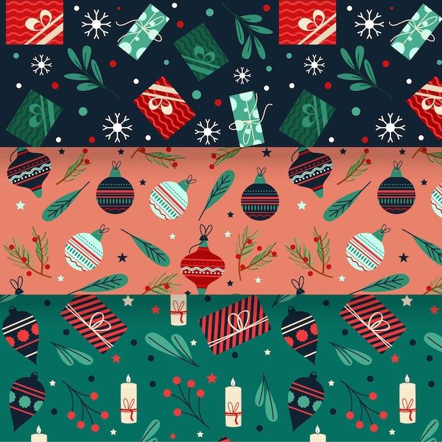 Platte ontwerp kerst patroon set Premium Vector