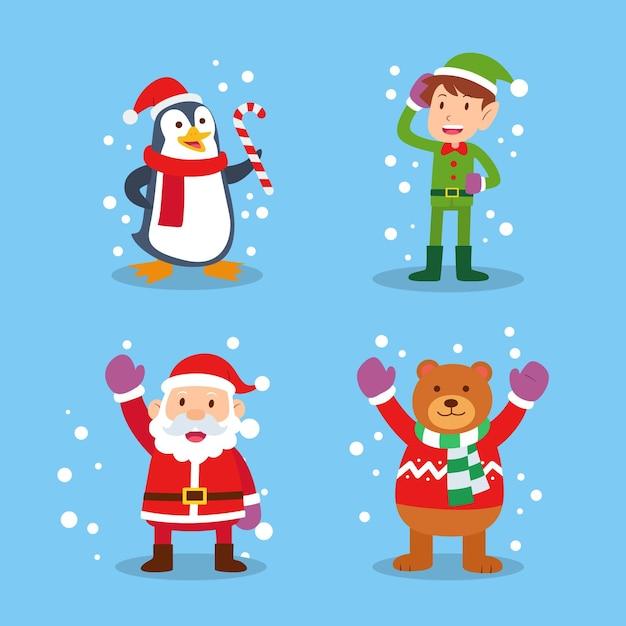 Platte ontwerp kerst tekens collectie Gratis Vector