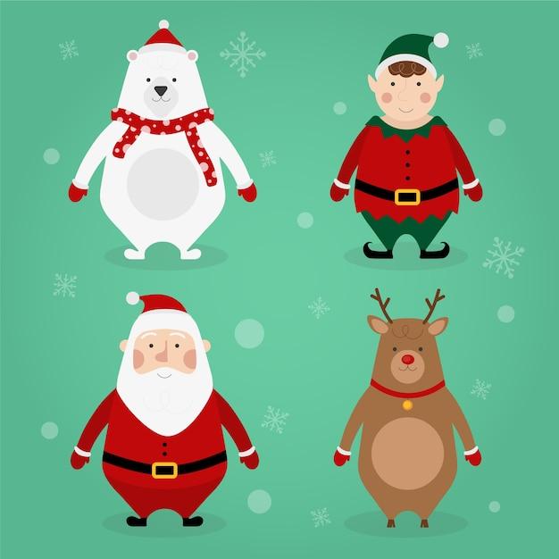Platte ontwerp kerst tekensverzameling Gratis Vector