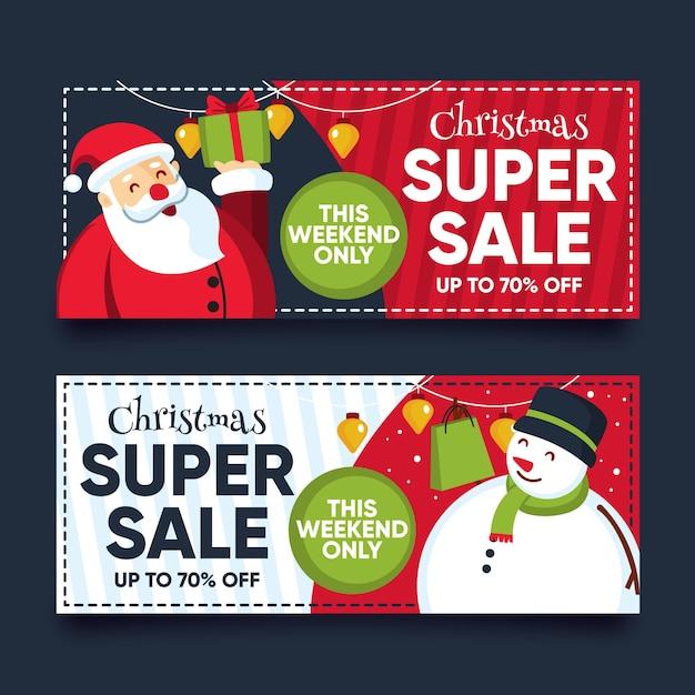 Platte ontwerp kerst verkoop banner Gratis Vector