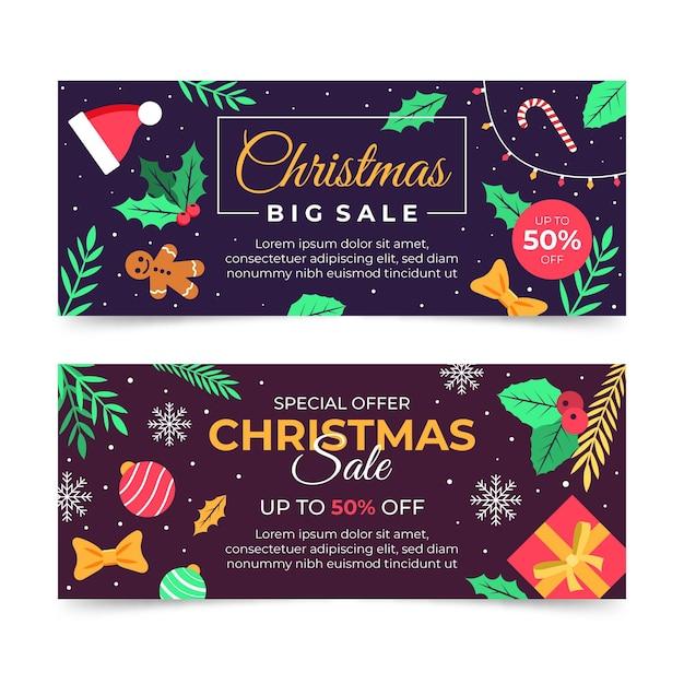 Platte ontwerp kerst verkoop banners sjabloon Gratis Vector