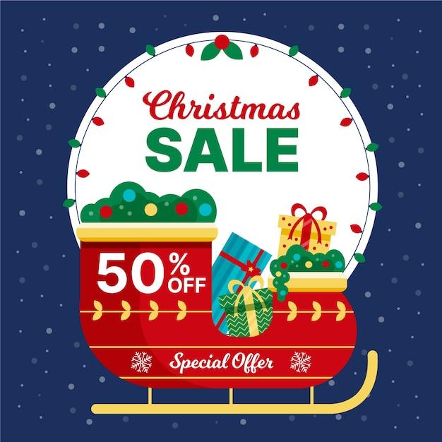Platte ontwerp kerst verkoop concept Gratis Vector