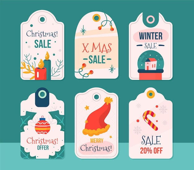 Platte ontwerp kerst verkoop tag-collectie Gratis Vector