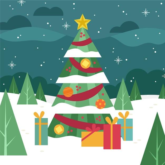 Platte ontwerp kerstboom behang Gratis Vector