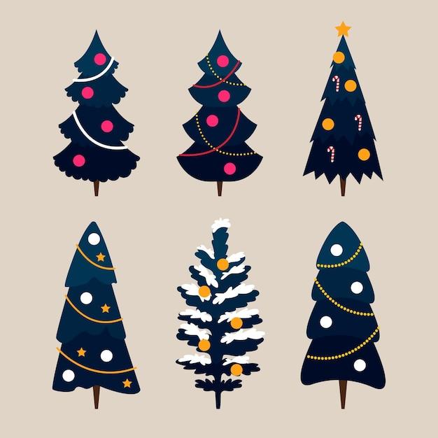 Platte ontwerp kerstboom collectie Gratis Vector