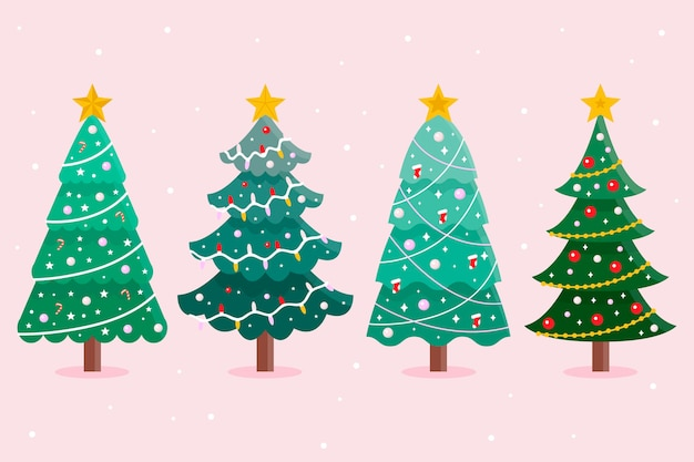 Platte ontwerp kerstboom collectie Premium Vector